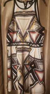 White triangle patterned high neck dress